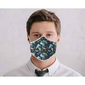 Blauw dierenprint katoenen mondkapje