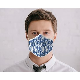 R2 Blue camouflage print cotton face mask