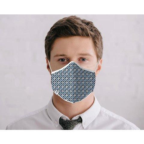 Blauw beige grafische print katoenen mondkapje