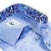 Lichtblauw jaquard bloemenprint katoenen overhemd.