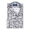 Grey flower print cotton shirt.
