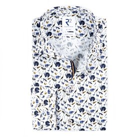 R2 White animal print cotton shirt.
