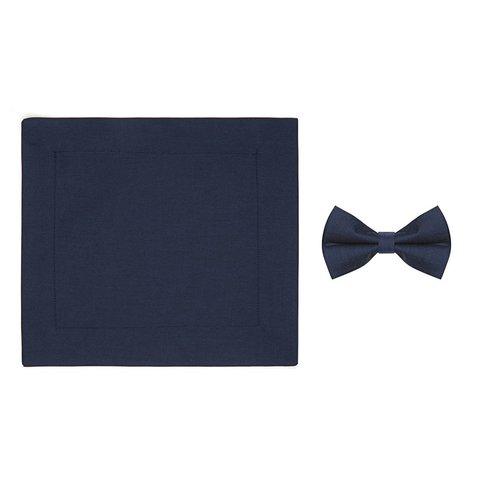 Kids blue cotton bow tie.