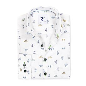 R2 Kids cycling print cotton shirt.