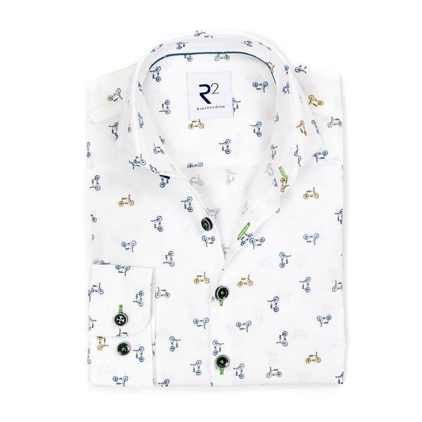 R2 Kids cycling print cotton shirt.