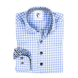 R2 Kids Blau-weiß kariertes Oxford Baumwollhemd.