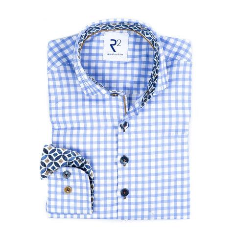 Kids blauw wit geruit katoenen Oxford overhemd.