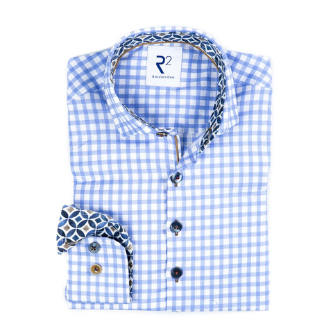 Kids blue and white checkered cotton Oxford shirt.