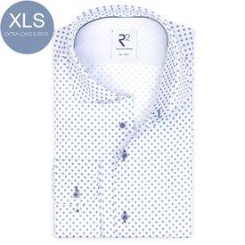 R2 Extra Long Sleeves. Blue dots print cotton shirt.