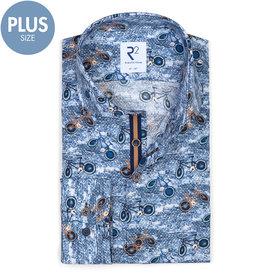 R2 Plus size. Blue bicycles print cotton shirt.