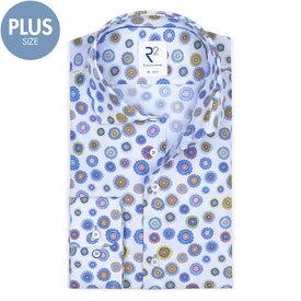 R2 Plus Size Fit. Light blue flower print cotton shirt.
