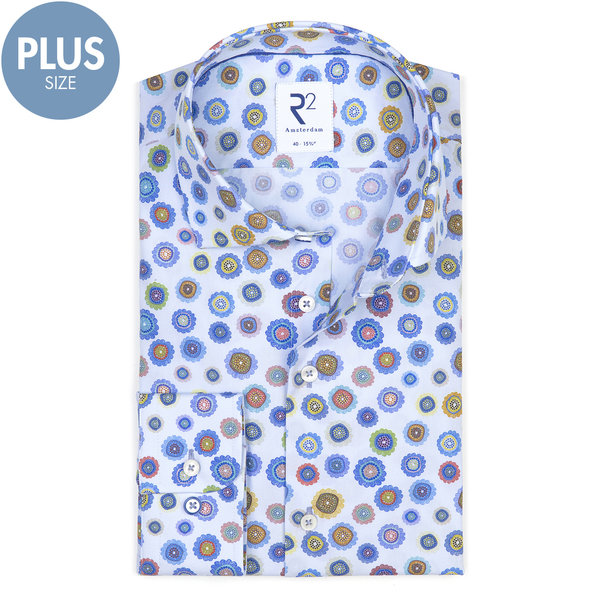 R2 Plus Size. Lichtblauw bloemenprint katoenen overhemd.