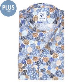 R2 Plus Size Fit. White flower print cotton shirt.
