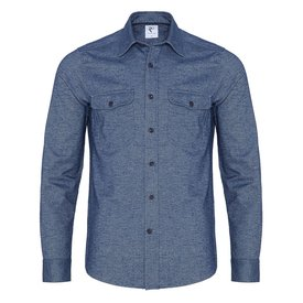 R2 Navy blue oxford 2 PLY woolblend overshirt.