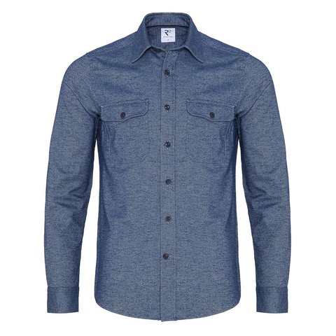 Marineblaues Oxford 2 PLY Wollmischung Overshirt.