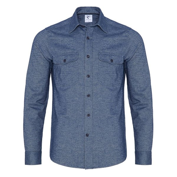 R2 Marineblaues Oxford 2 PLY Wollmischung Overshirt.