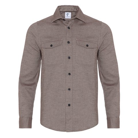 Brown 2 PLY cotton overshirt.