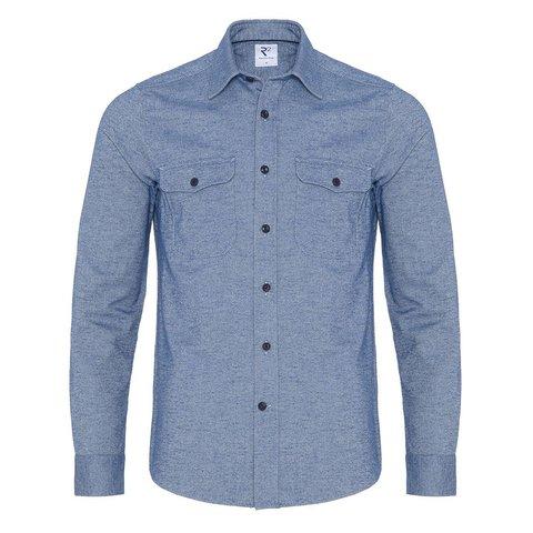 Cobalt blue oxford cotton overshirt.