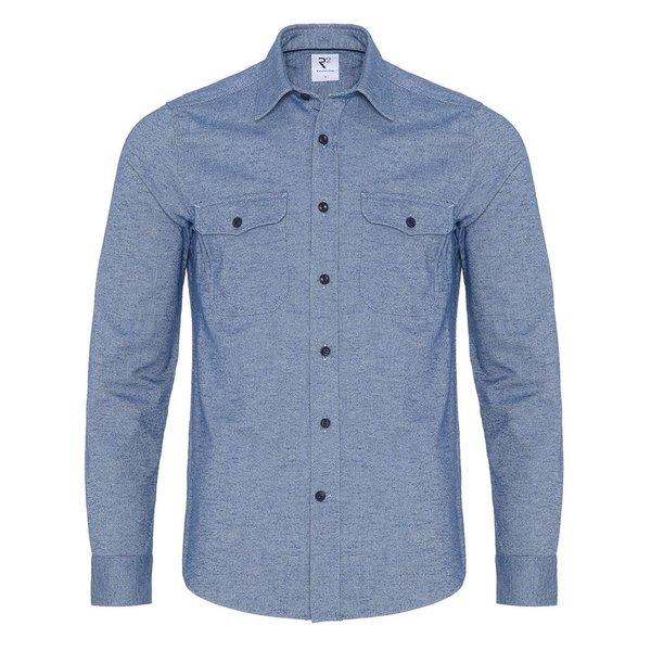 R2 Kobaltblaues Oxford Baumwoll-Overshirt.