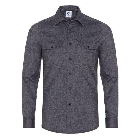 Dark blue cotton overshirt.