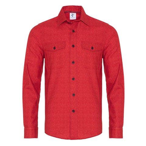 Red herringbone cotton overshirt.