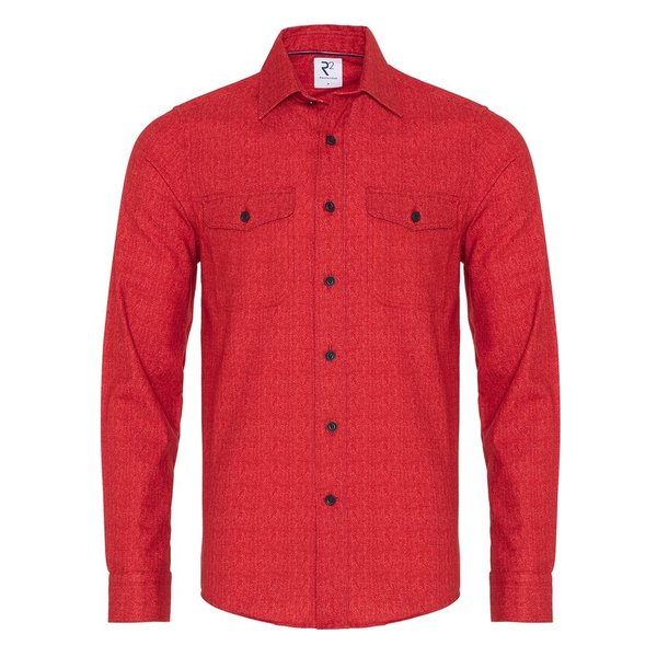 R2 Red herringbone cotton overshirt.