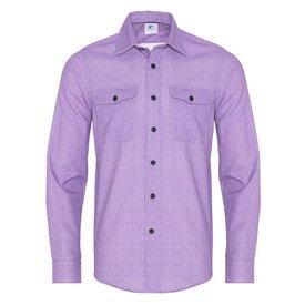 R2 Lilac herringbone cotton overshirt.
