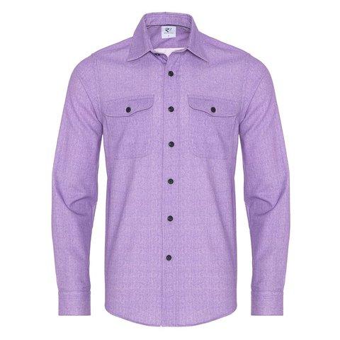 Lilac herringbone cotton overshirt.