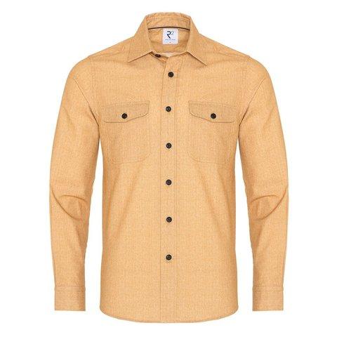 Yellow herringbone cotton overshirt.