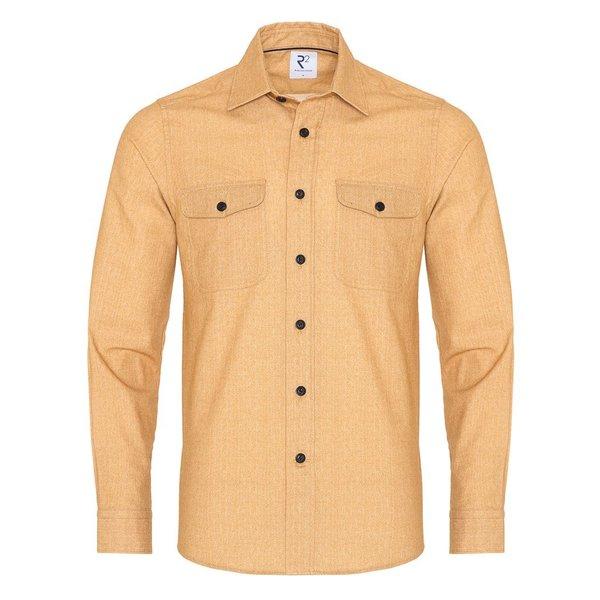 R2 Yellow herringbone cotton overshirt.