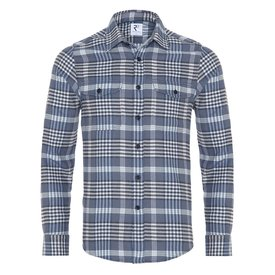R2 Blue checkered cotton overshirt.