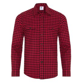 R2 Red checkered herringbone cotton overshirt.