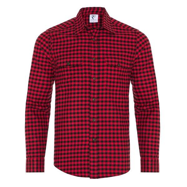 R2 Red checkered herringbone cotton overshirt.