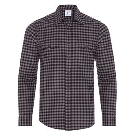 R2 Grey checkered herringbone cotton overshirt.