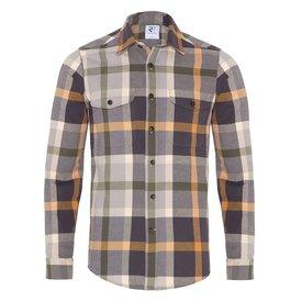 R2 Multicolour checkered oxford cotton overshirt.