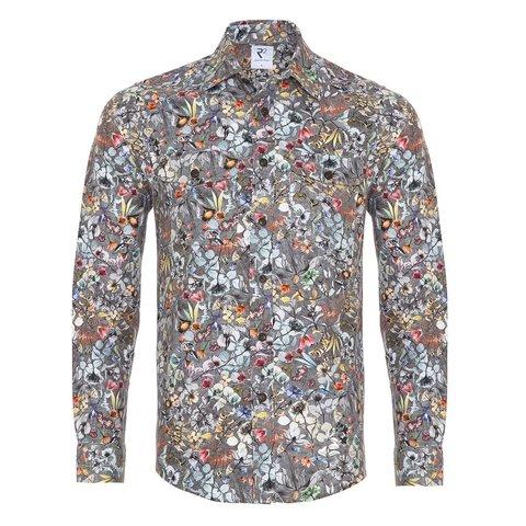 Graues Blumendruck Baumwoll-Overshirt.