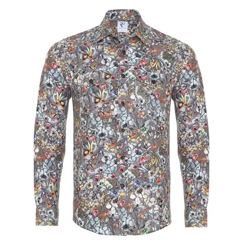 Grey flowerprint cotton overshirt.
