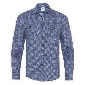 R2 Blue flowerprint corduroy cotton overshirt.