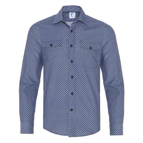 Blue flowerprint corduroy cotton overshirt.