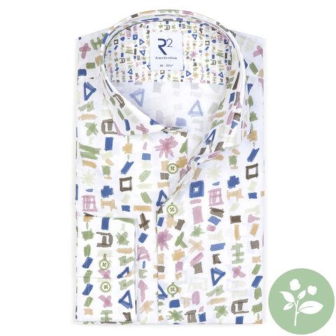 Weißes Baumwollhemd mit Musterdruck. Organic Baumwolle.