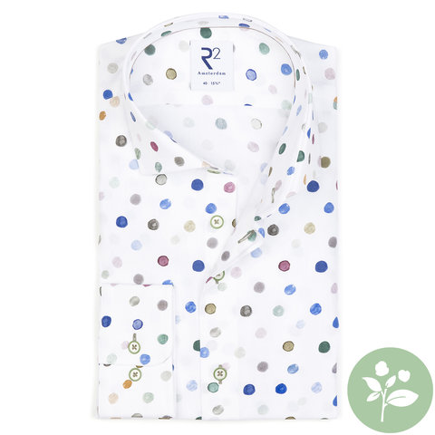Mehrfarbiges Baumwollhemd mit Punktdruck. Organic Baumwolle.