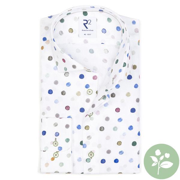 R2 Mehrfarbiges Baumwollhemd mit Punktdruck. Organic Baumwolle.