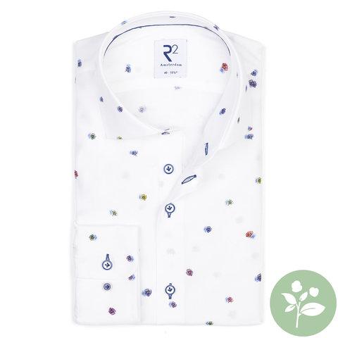 Wit bloemenprint viscose overhemd.