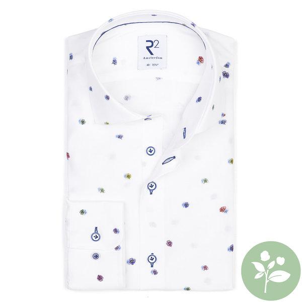 R2 Weißes Viscose Hemd mit Blumendruck.