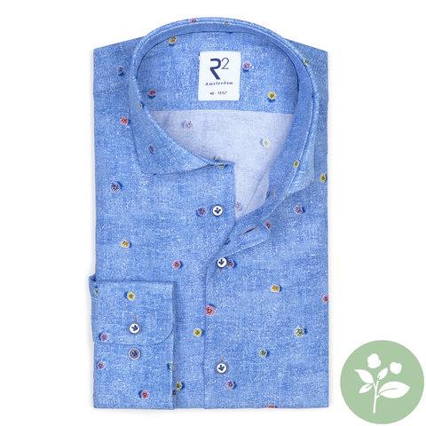 Blaues Viscose Hemd mit Blumendruck.