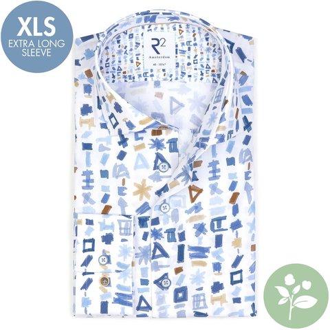 Extra Lange Mouwen. Wit grafische print organic cotton overhemd.