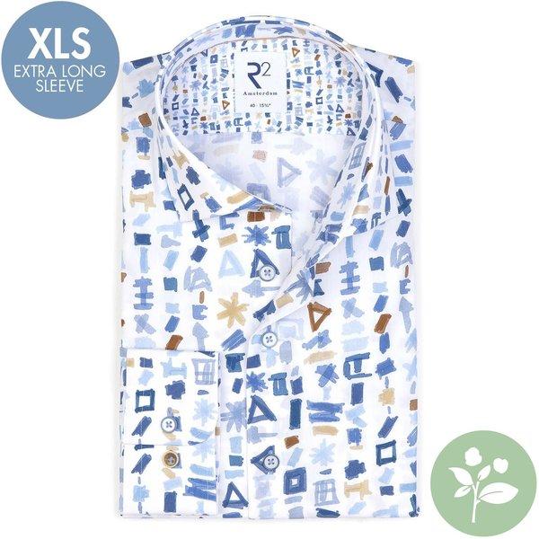 R2 Extra Lange Mouwen. Wit grafische print organic cotton overhemd.