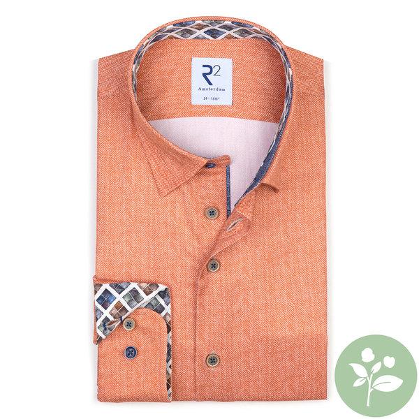 R2 Orangefarbenes 2 PLY Baumwollhemd. Organic Baumwolle.