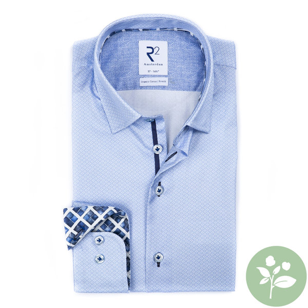 R2 Light blue mini flower print 2 PLY organic cotton shirt.