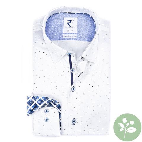 Wit stippenprint 2 PLY organic cotton overhemd.